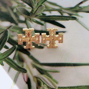Tory Burch Simple Gold Logo Retro Earrings